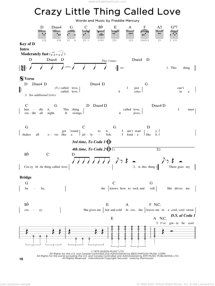 Crazy Little Thing Called Love sheet music for guitar solo (lead sheet) by Queen, Dwight Yoakam and Freddie Mercury, intermediate guitar (lead sheet)