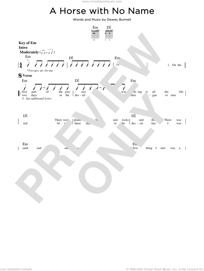 A Horse With No Name sheet music for guitar solo (lead sheet) by America and Dewey Bunnell, intermediate guitar (lead sheet)