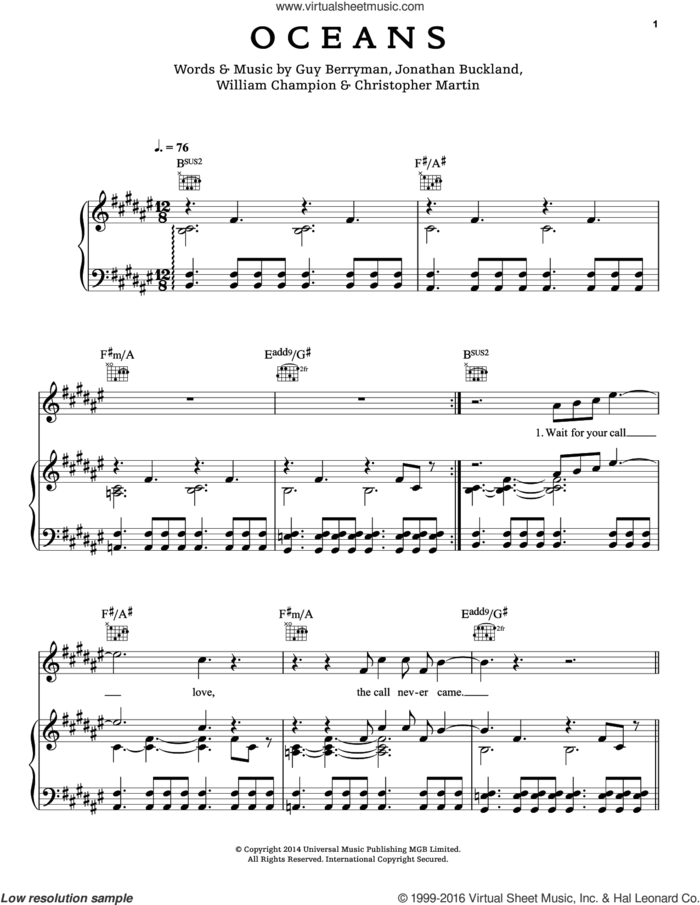 Oceans sheet music for voice, piano or guitar by Guy Berryman, Coldplay, Chris Martin, Jon Buckland and Will Champion, intermediate skill level
