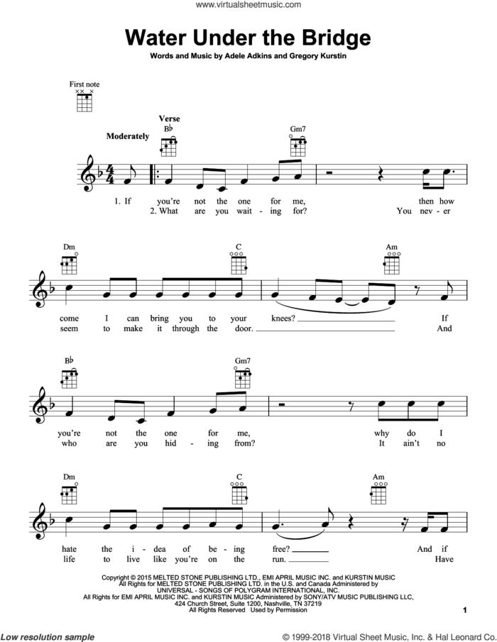 Water Under The Bridge sheet music for ukulele by Adele, Adele Adkins and Gregory Kurstin, intermediate skill level