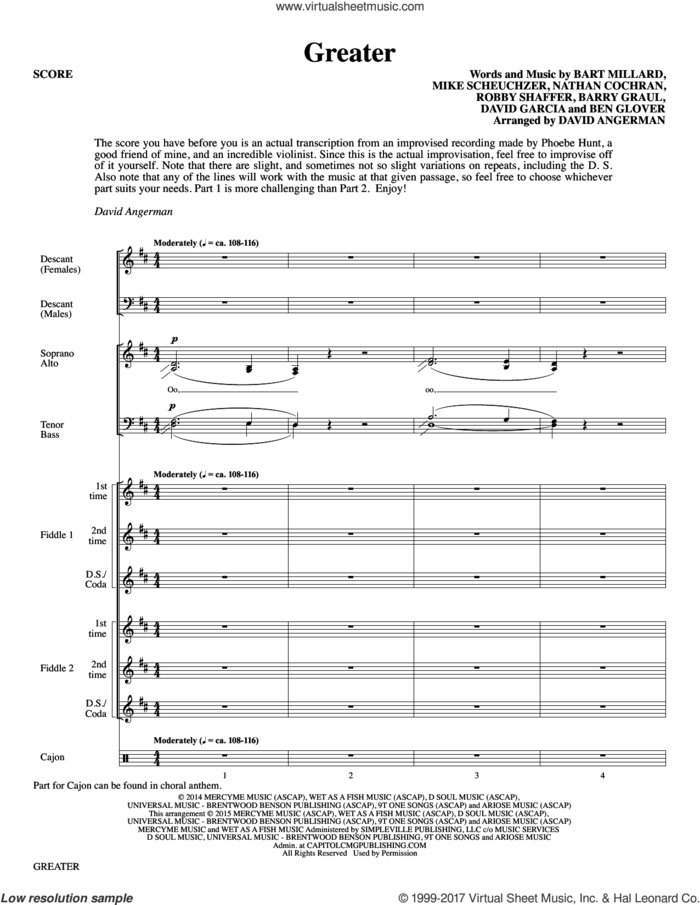 Greater (arr. David Angerman) (COMPLETE) sheet music for orchestra/band by MercyMe, Barry Graul, Bart Millard, Ben Glover, David Angerman, David Garcia, Mike Scheuchzer, Nathan Cochran and Robby Shaffer, intermediate skill level