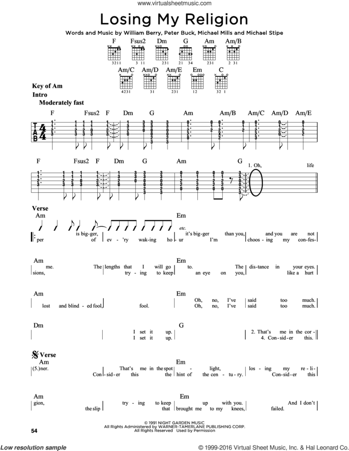 Losing My Religion sheet music for guitar solo (lead sheet) by R.E.M., Dia Frampton, Michael Stipe, Mike Mills, Peter Buck and William Berry, intermediate guitar (lead sheet)