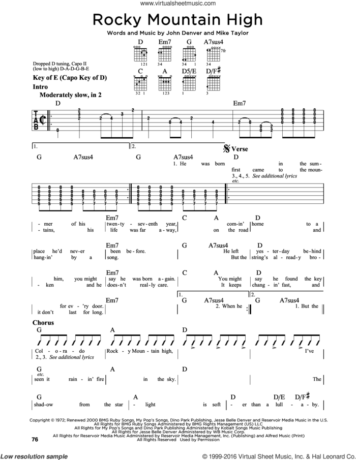 Rocky Mountain High sheet music for guitar solo (lead sheet) by John Denver and Mike Taylor, intermediate guitar (lead sheet)