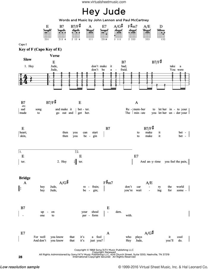 Hey Jude sheet music for guitar solo (lead sheet) by The Beatles, John Lennon and Paul McCartney, intermediate guitar (lead sheet)
