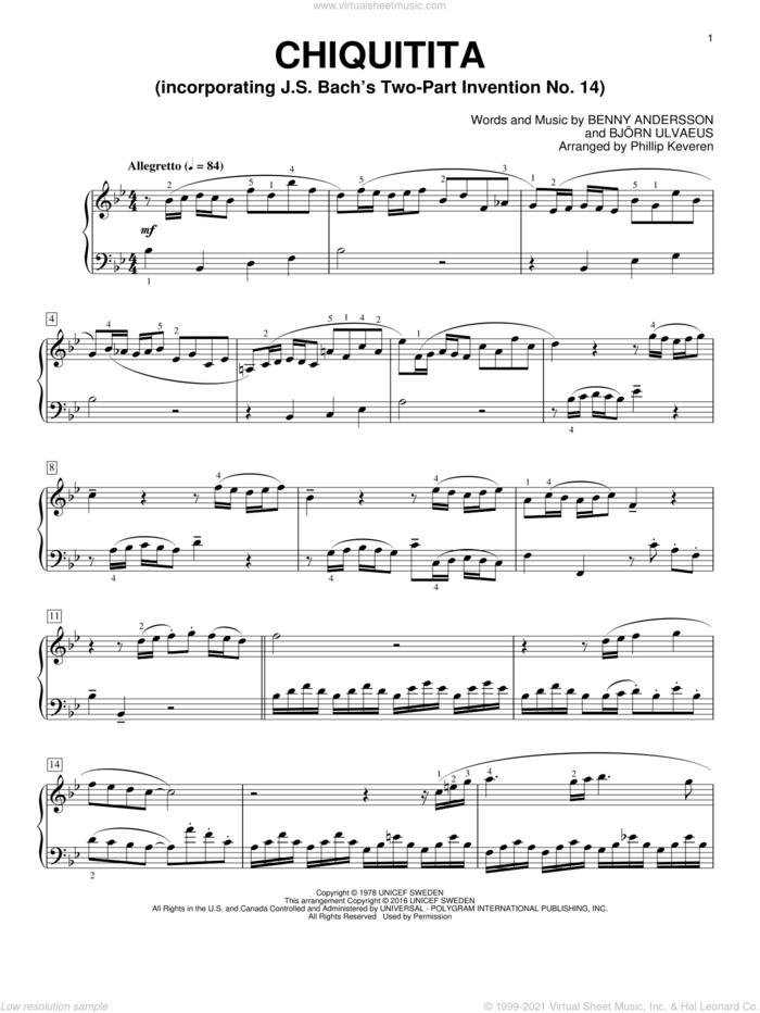 Chiquitita (arr. Phillip Keveren) sheet music for piano solo by Benny Andersson, Phillip Keveren, ABBA and Bjorn Ulvaeus, intermediate skill level