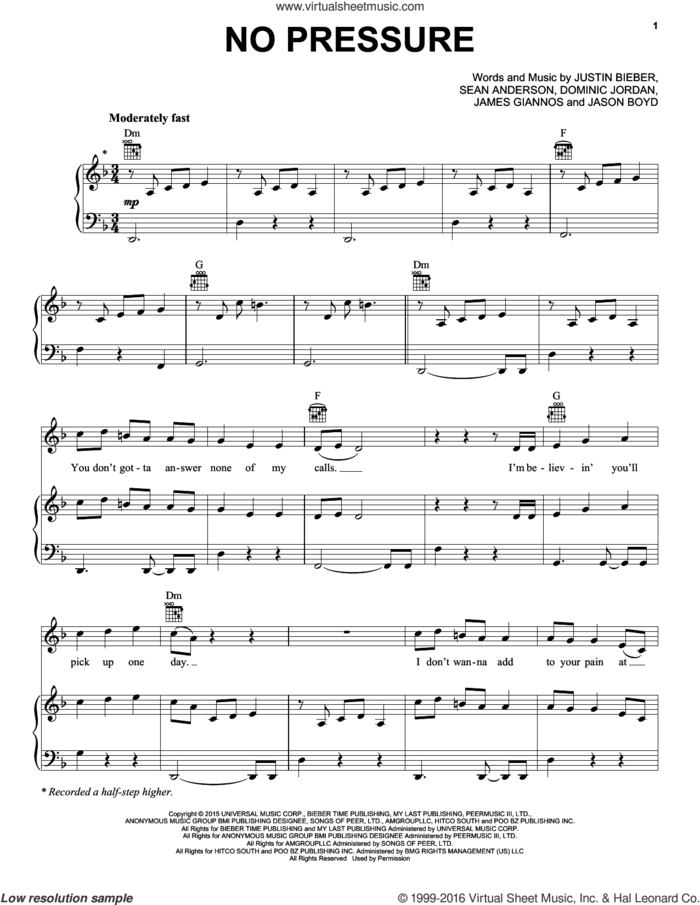 No Pressure sheet music for voice, piano or guitar by Justin Bieber, Dominic Jordan, James Giannos, Jason Boyd and Sean Anderson, intermediate skill level
