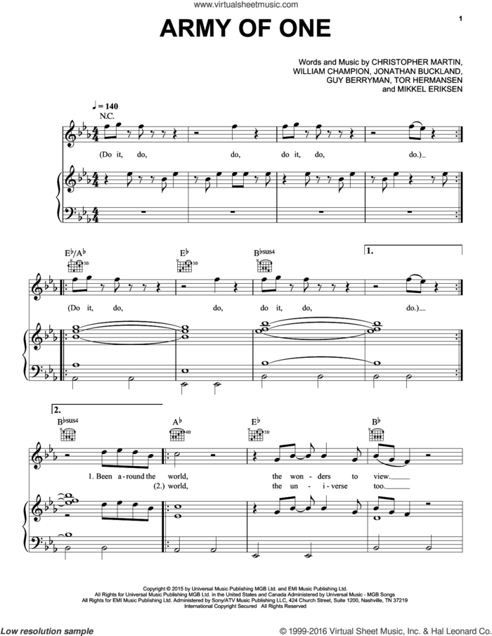 Army Of One sheet music for voice, piano or guitar by Guy Berryman, Coldplay, Christopher Martin, Jonathan Buckland, Mikkel Eriksen, Tor Erik Hermansen and William Champion, intermediate skill level