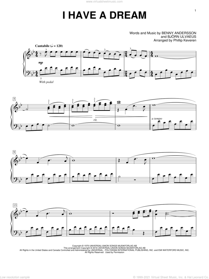 I Have A Dream (arr. Phillip Keveren) sheet music for piano solo by Benny Andersson, Phillip Keveren, ABBA and Bjorn Ulvaeus, intermediate skill level