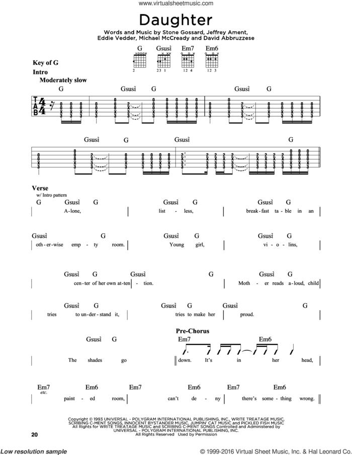 Daughter sheet music for guitar solo (lead sheet) by Pearl Jam, David Abbruzzese, Eddie Vedder, Jeffrey Ament, Michael McCready and Stone Gossard, intermediate guitar (lead sheet)