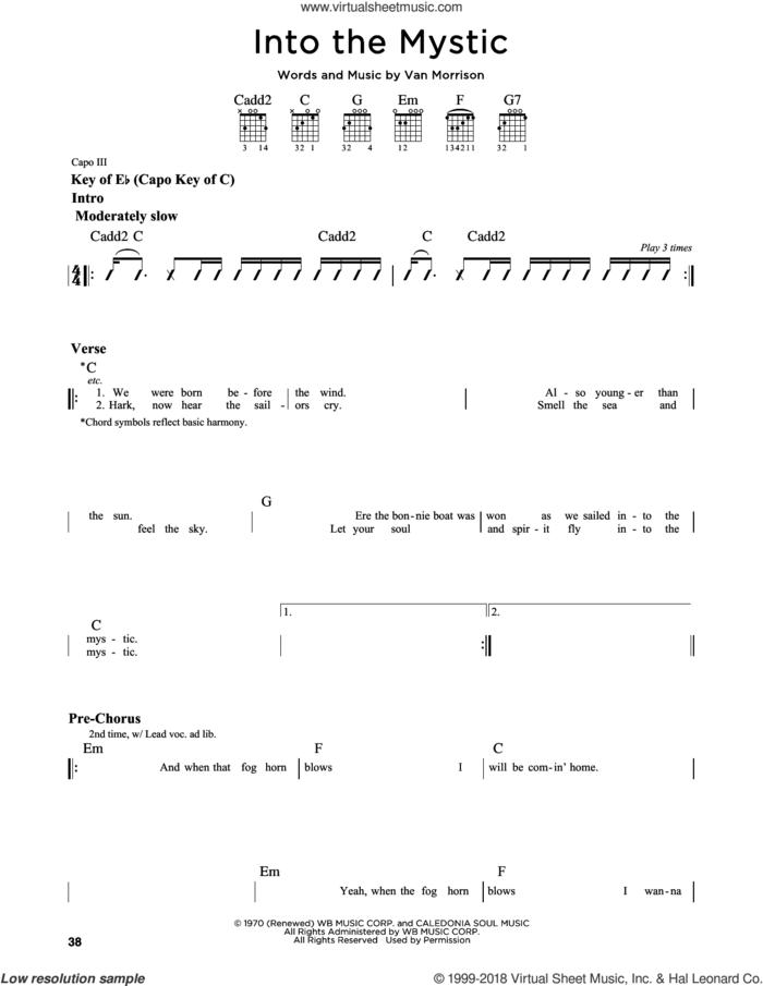 Into The Mystic sheet music for guitar solo (lead sheet) by Van Morrison, intermediate guitar (lead sheet)