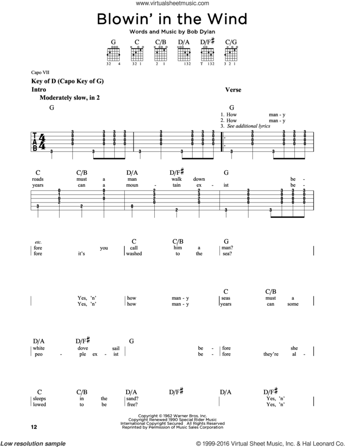 Blowin' In The Wind sheet music for guitar solo (lead sheet) by Bob Dylan, Peter, Paul & Mary and Stevie Wonder, intermediate guitar (lead sheet)