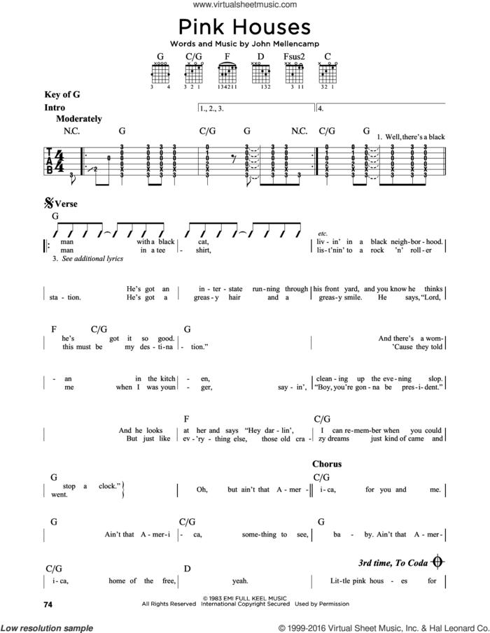 Pink Houses sheet music for guitar solo (lead sheet) by John Mellencamp, intermediate guitar (lead sheet)