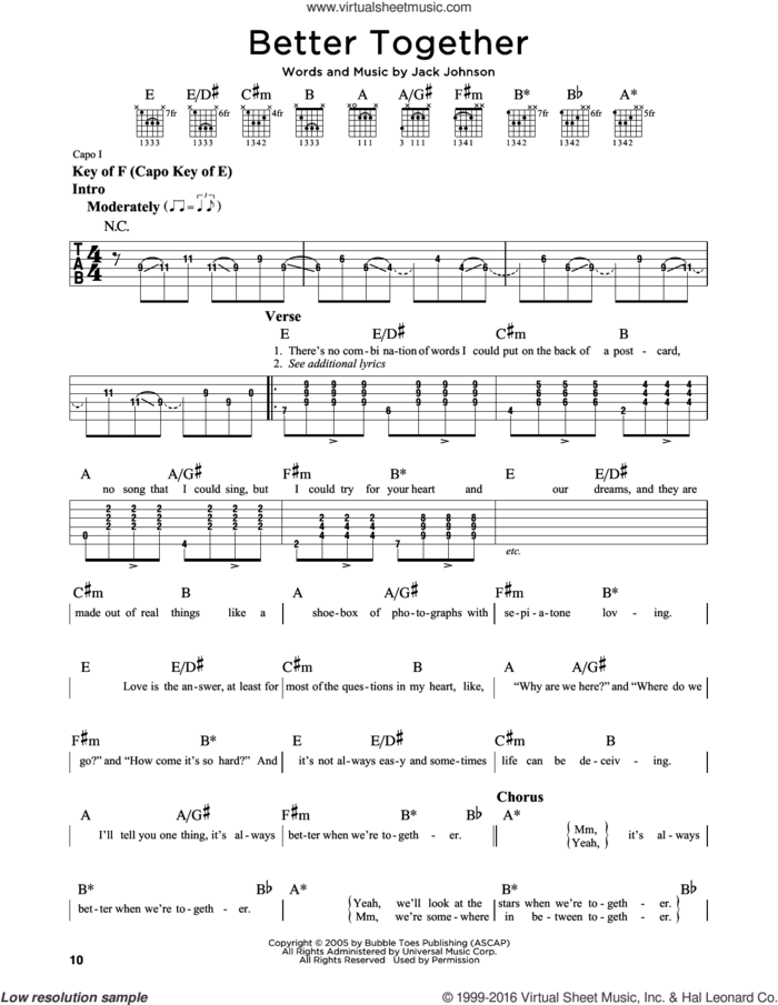 Better Together sheet music for guitar solo (lead sheet) by Jack Johnson, intermediate guitar (lead sheet)