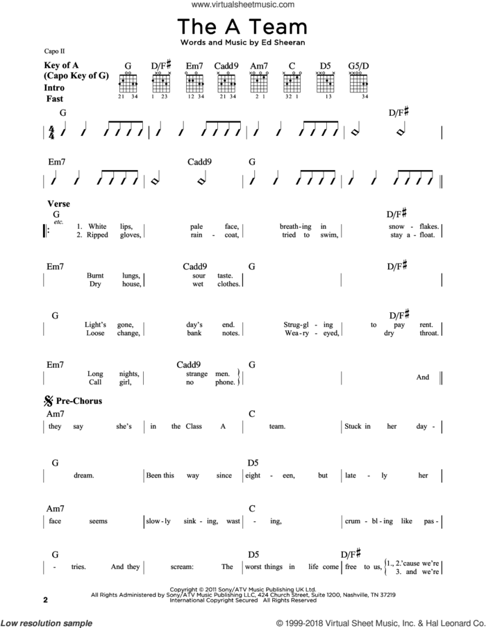 The A Team sheet music for guitar solo (lead sheet) by Ed Sheeran, intermediate guitar (lead sheet)