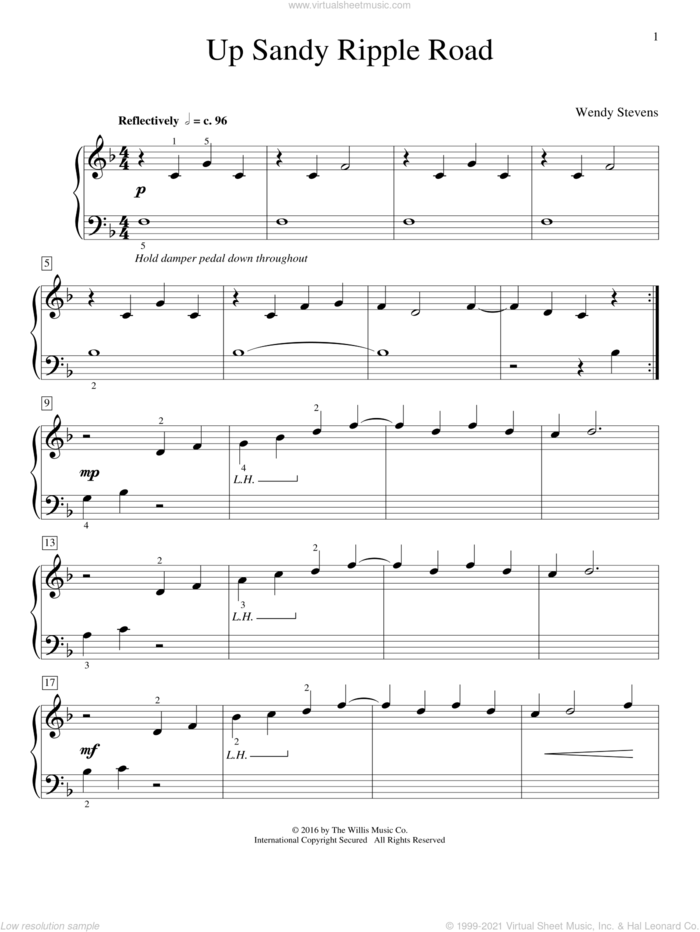 Up Sandy Ripple Road sheet music for piano solo (elementary) by Wendy Stevens, beginner piano (elementary)
