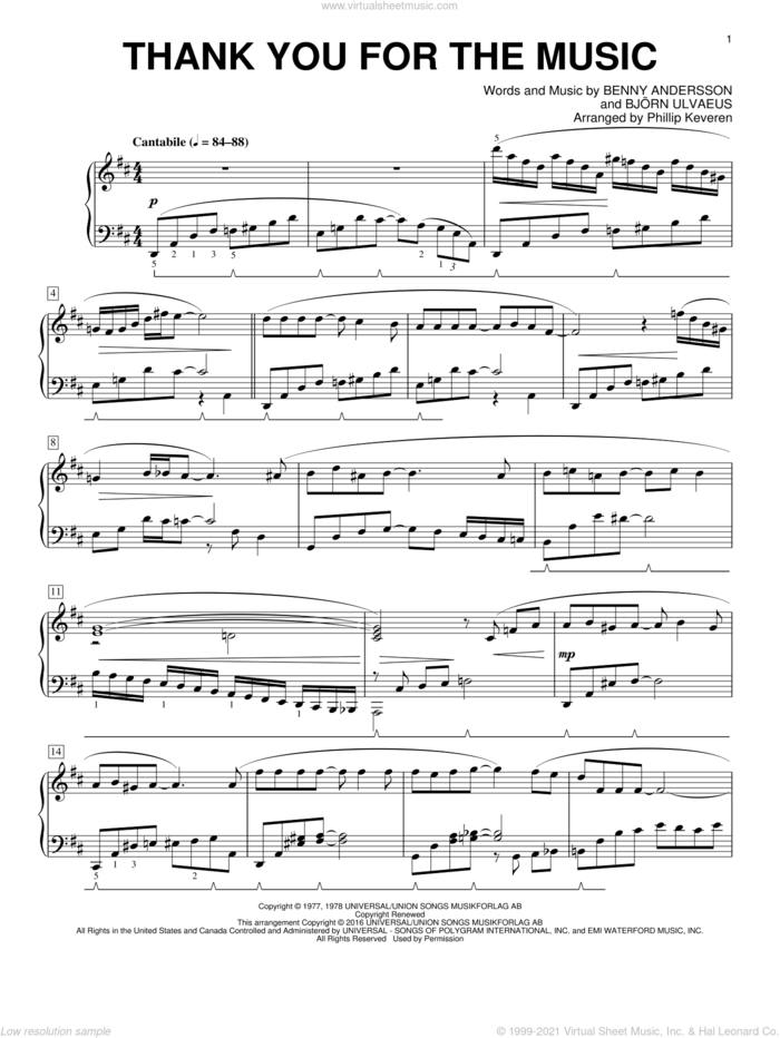 Thank You For The Music (arr. Phillip Keveren) sheet music for piano solo by Benny Andersson, Phillip Keveren, ABBA and Bjorn Ulvaeus, intermediate skill level
