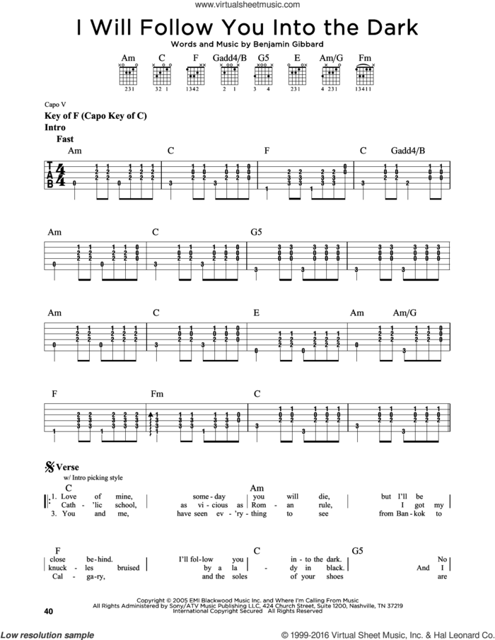 I Will Follow You Into The Dark sheet music for guitar solo (lead sheet) by Death Cab For Cutie and Benjamin Gibbard, intermediate guitar (lead sheet)
