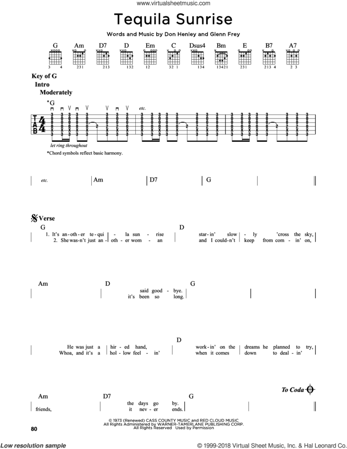 Tequila Sunrise sheet music for guitar solo (lead sheet) by Don Henley, The Eagles and Glenn Frey, intermediate guitar (lead sheet)