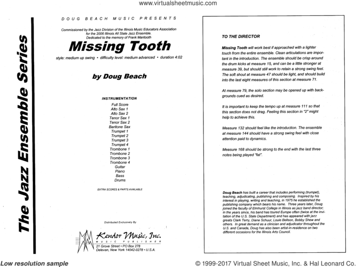Missing Tooth (COMPLETE) sheet music for jazz band by Doug Beach, intermediate skill level