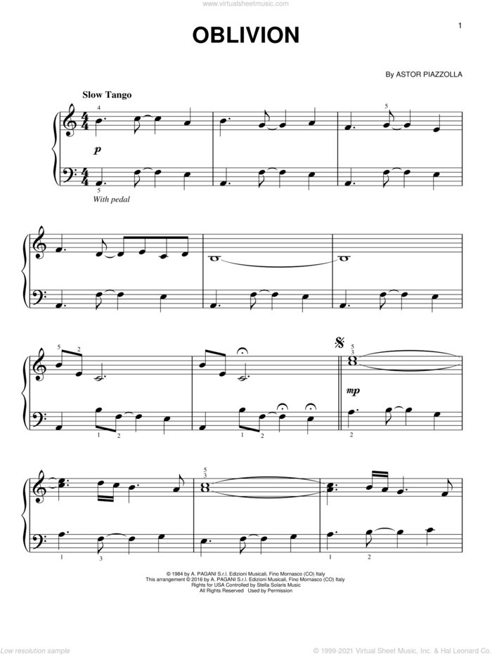 Oblivion, (easy) sheet music for piano solo by Astor Piazzolla, classical score, easy skill level