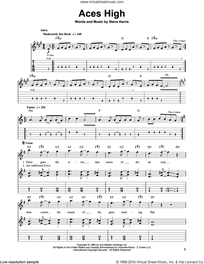 Aces High sheet music for guitar (tablature, play-along) by Iron Maiden and Steve Harris, intermediate skill level