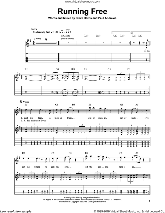 Running Free sheet music for guitar (tablature, play-along) by Iron Maiden, Paul Andrews and Steve Harris, intermediate skill level