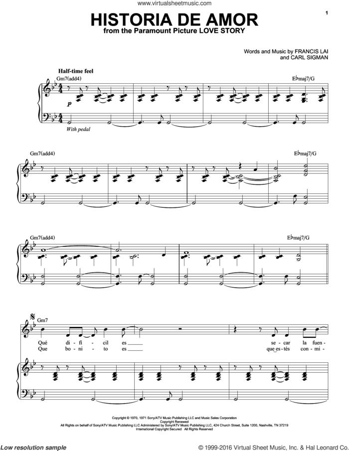Historia De Amor sheet music for voice and piano by Andrea Bocelli, Carl Sigman and Francis Lai, classical score, intermediate skill level
