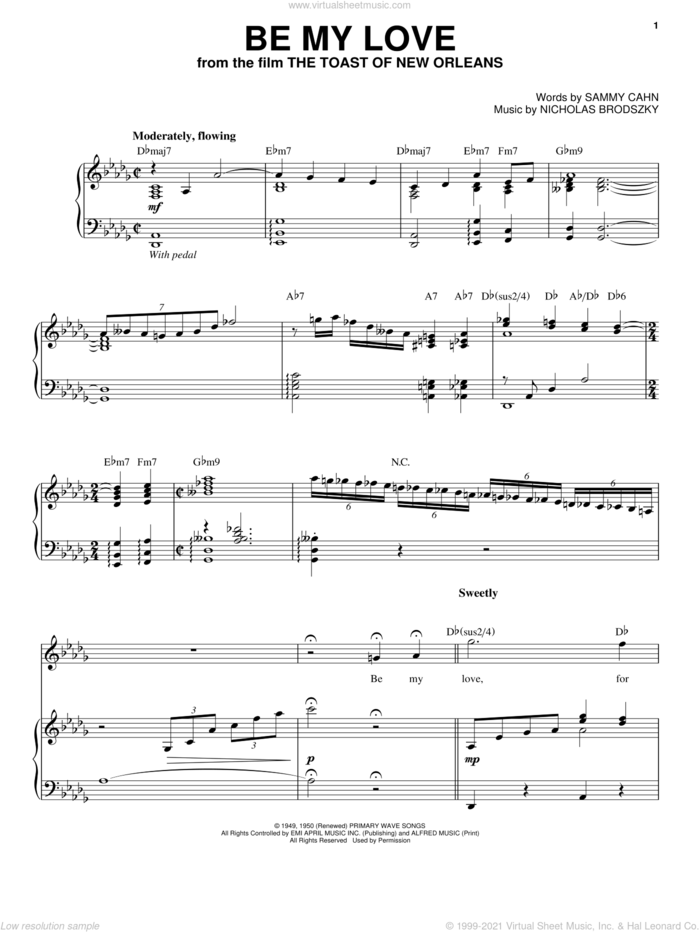 Be My Love sheet music for voice and piano by Andrea Bocelli, Nicholas Brodszky and Sammy Cahn, classical score, intermediate skill level