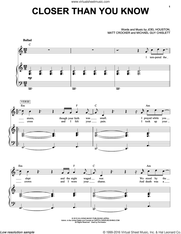 Closer Than You Know sheet music for voice and piano by Hillsong United, Joel Houston, Matt Crocker and Michael Guy Chislett, intermediate skill level
