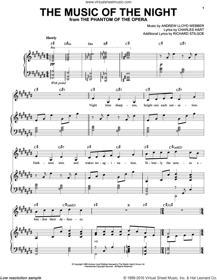 The Music Of The Night (from The Phantom Of The Opera) sheet music for voice and piano by Andrea Bocelli, David Cook, Andrew Lloyd Webber, Charles Hart and Richard Stilgoe, intermediate skill level