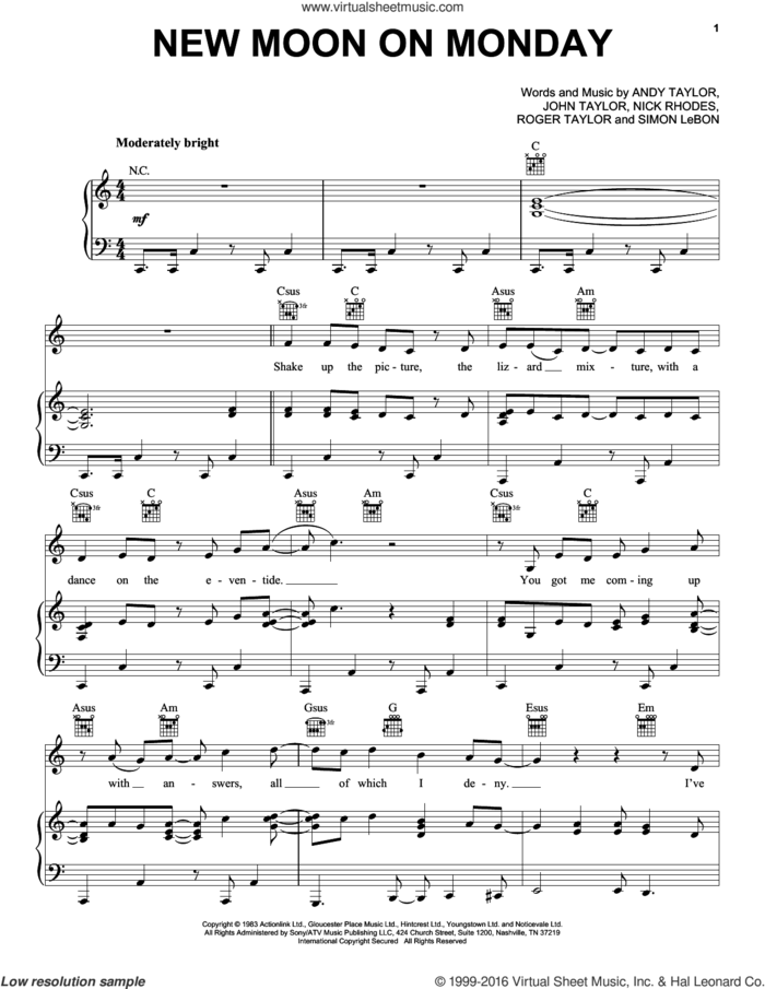 New Moon On Monday sheet music for voice, piano or guitar by Duran Duran, Andrew Taylor, John Taylor, Nick Rhodes, Roger Taylor and Simon LeBon, intermediate skill level