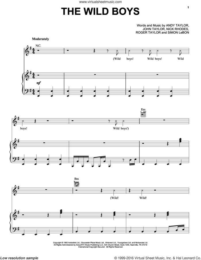 The Wild Boys sheet music for voice, piano or guitar by Duran Duran, Andrew Taylor, John Taylor, Nick Rhodes, Roger Taylor and Simon LeBon, intermediate skill level
