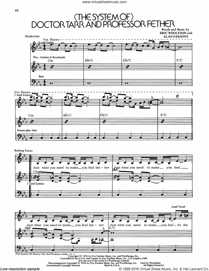 (The System Of) Doctor Tarr And Professor Fether sheet music for voice and piano by Alan Parsons Project, Alan Parsons and Eric Woolfson, intermediate skill level
