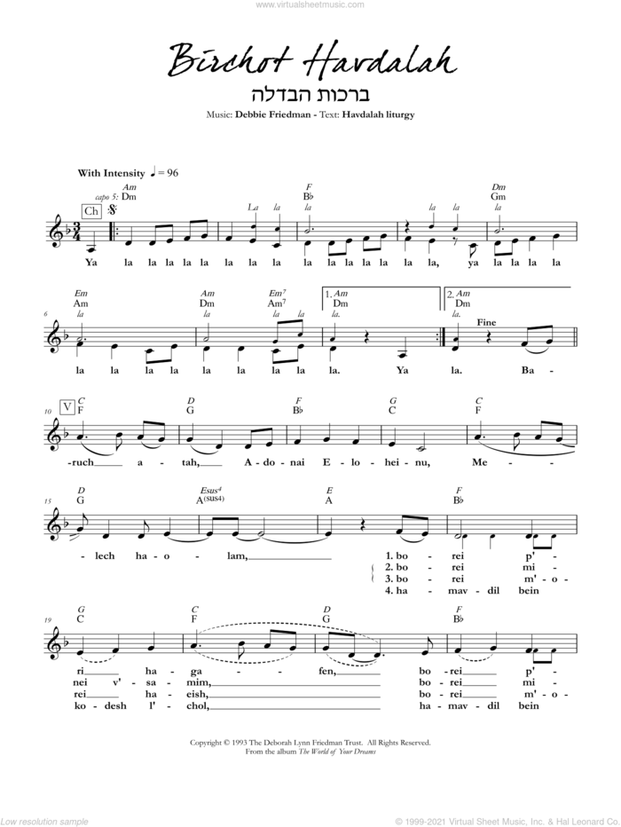 Birchot Havdalah sheet music for voice and other instruments (fake book) by Debbie Friedman, intermediate skill level