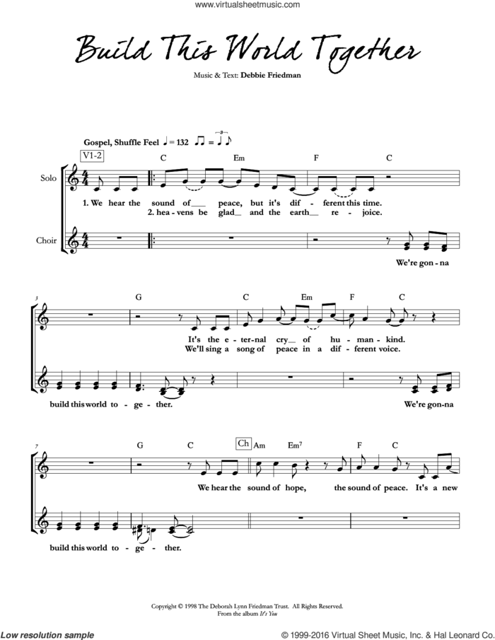 Build This World Together sheet music for voice and other instruments (fake book) by Debbie Friedman, intermediate skill level