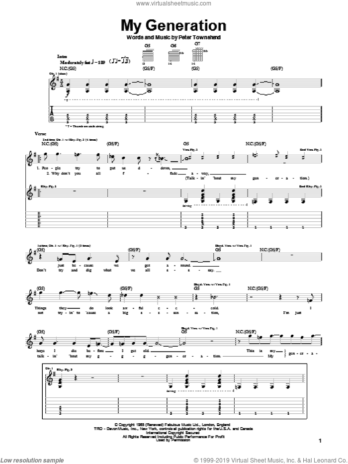 My Generation sheet music for guitar (tablature) by The Who and Pete Townshend, intermediate skill level