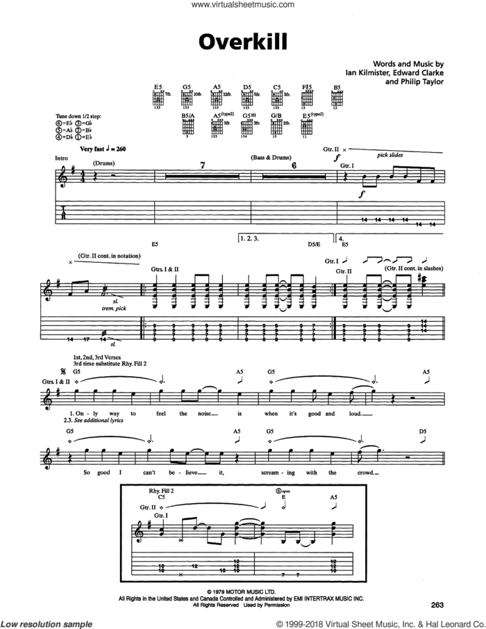 Overkill sheet music for guitar (tablature) by Metallica, Edward Clarke, Ian Kilmister and Philip Taylor, intermediate skill level