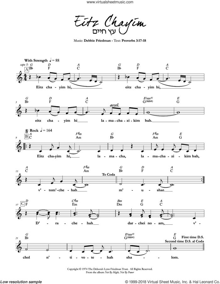 Eitz Chayim sheet music for voice and other instruments (fake book) by Debbie Friedman, intermediate skill level