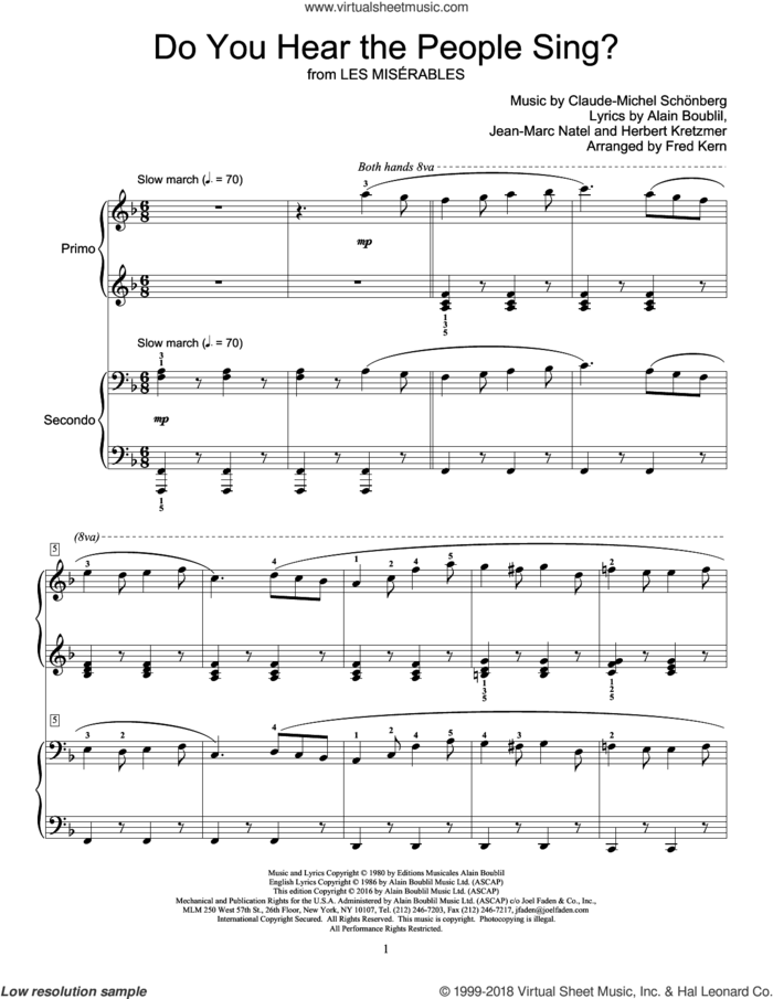 Do You Hear The People Sing? sheet music for piano four hands by Alain Boublil, Fred Kern, Claude-Michel Schonberg, Claude-Michel Schonberg, Herbert Kretzmer and Jean-Marc Natel, intermediate skill level
