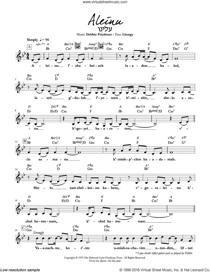 Aleinu sheet music for voice and other instruments (fake book) by Debbie Friedman, intermediate skill level