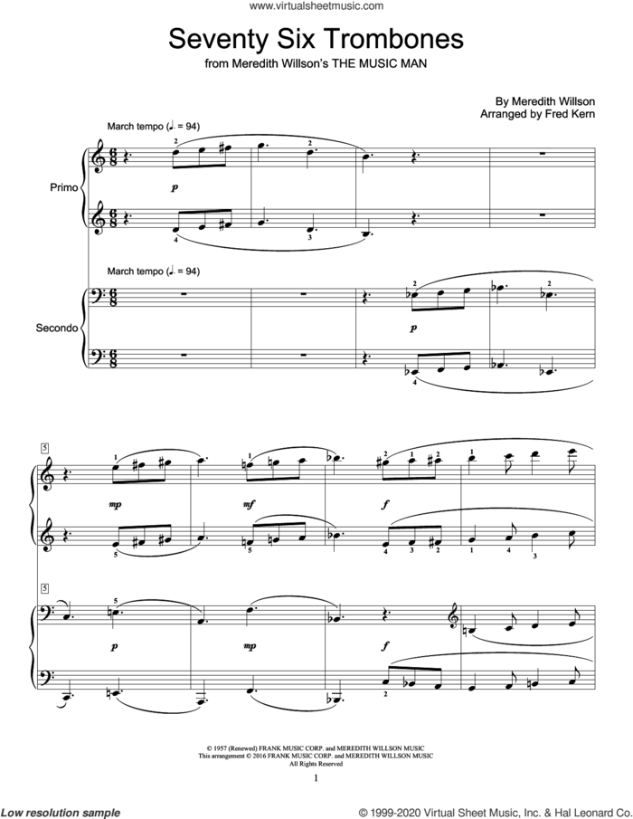 Seventy Six Trombones sheet music for piano four hands by Meredith Willson and Fred Kern, intermediate skill level
