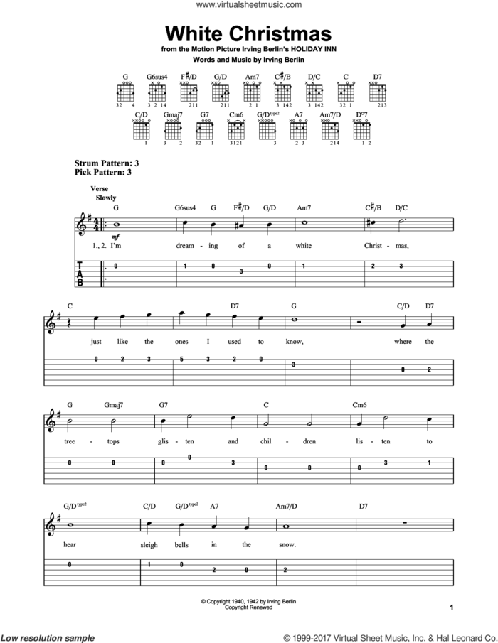 White Christmas sheet music for guitar solo (easy tablature) by Irving Berlin, easy guitar (easy tablature)