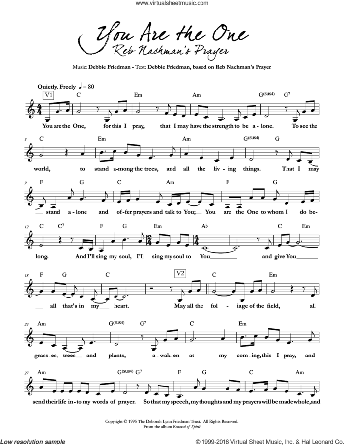 You are the One sheet music for voice and other instruments (fake book) by Debbie Friedman, intermediate skill level