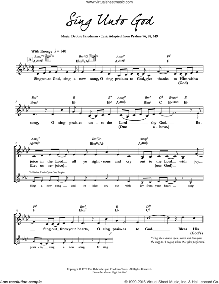 Sing Unto God sheet music for voice and other instruments (fake book) by Debbie Friedman, intermediate skill level