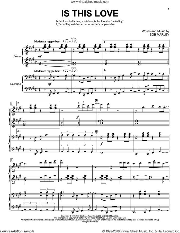 Is This Love sheet music for piano four hands by Bob Marley and Brent Edstrom, intermediate skill level