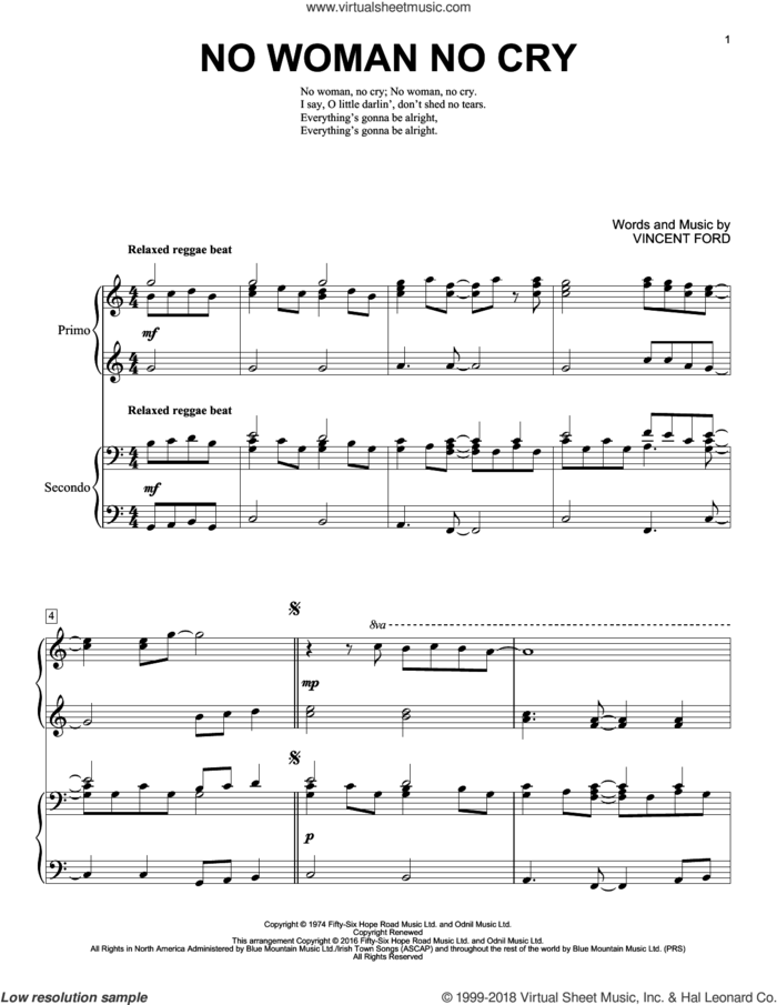 No Woman No Cry sheet music for piano four hands by Brent Edstrom, Bob Marley and Vincent Ford, intermediate skill level