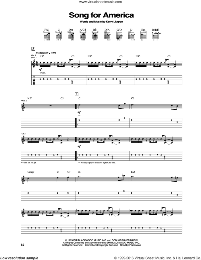 Song For America sheet music for guitar (tablature) by Kansas and Kerry Livgren, intermediate skill level