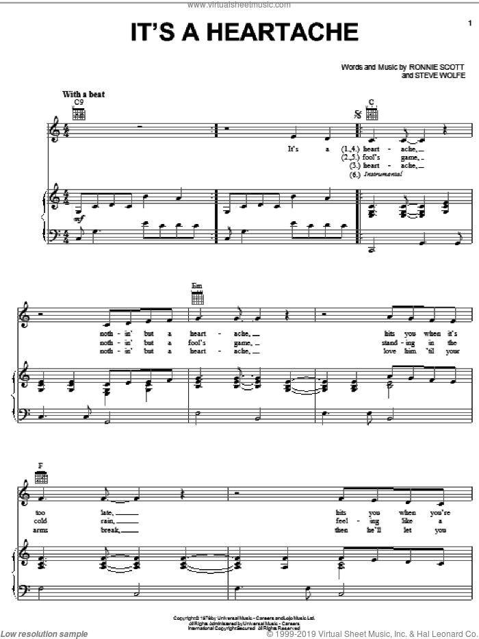 It's A Heartache sheet music for voice, piano or guitar by Bonnie Tyler, Juice Newton, Lorrie Morgan, Ronnie Scott and Steve Wolfe, intermediate skill level