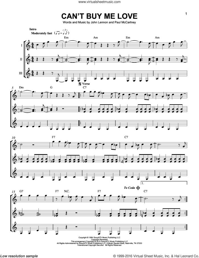 Can't Buy Me Love sheet music for guitar ensemble by The Beatles, John Lennon and Paul McCartney, intermediate skill level