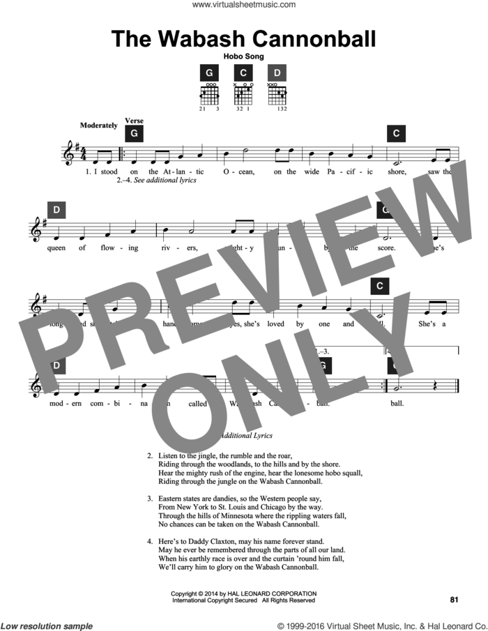 The Wabash Cannon Ball sheet music for guitar solo (ChordBuddy system) by Hobo Song, Travis Perry and Miscellaneous, intermediate guitar (ChordBuddy system)